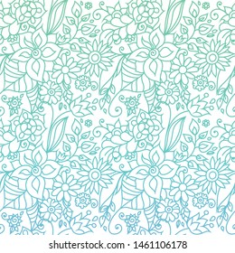 Zentangle inspired floral oriental background with whimsical flowers and leaves