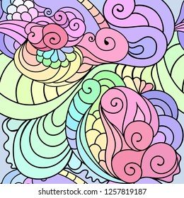Zentangle inspired textile pattern with waves and curles. Colorful hippie style seamless texture with oriental boho chic motives.