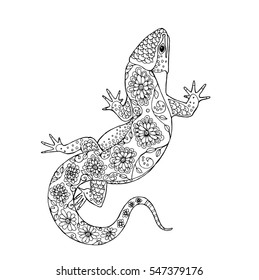 Zentangle lizard, vector design for adult coloring book