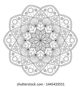 Zentangle mandala for antistress coloring book page, tatoo, yoga design and other