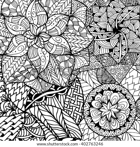 Zentangle Mandala For Coloring Book And Adults Made By Trace From Personal Hand Drawn Sketch