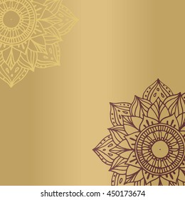 Zentangle mandala for invitations and adults. Made by trace from personal hand drawn sketch. Flower on golden background
