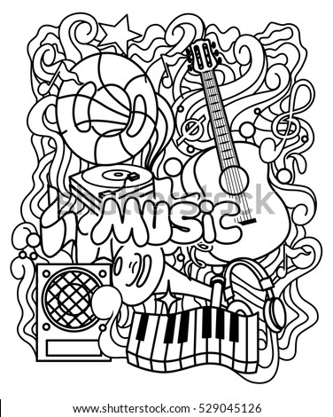 Zentangle Musical Ornament Coloring Page Relax Stock Vector Royalty