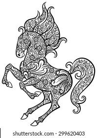 Zentangle ornate horse - hand drawn doodle vector illustration for tattoo or makhenda