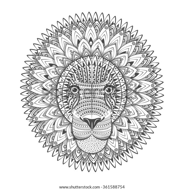 Zentangle Ornate Lion Tattoo Sketch Vector Stock Vector Royalty
