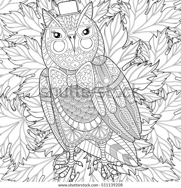 Coloriage Anti Stress Automne.Image Vectorielle De Stock De Peinture Zentangle Owl Pour La