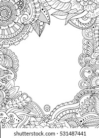 Zentangle postcard invitation border frame in adult colouring book style.