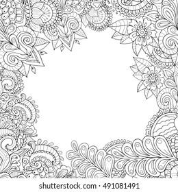 Zentangle postcard template. Floral monochrome zendoodle frame.