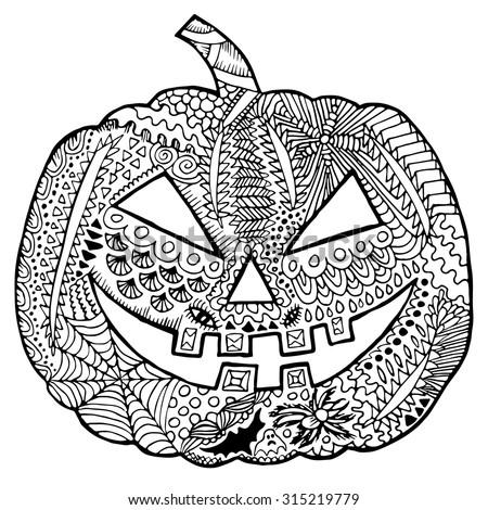 fall zentangle coloring pages | Zentangle Pumpkin Halloween Zentangle Illustration Autumn ...