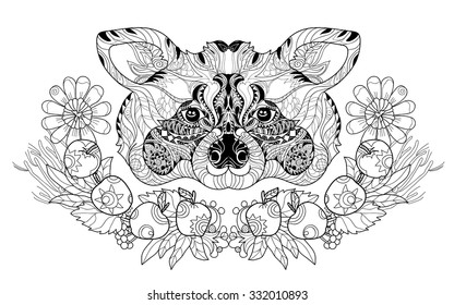Zentangle  raccoon head doodle. Hand drawn layered vector illustration. Sketch for tattoo or coloring pages. Animal sketch.
