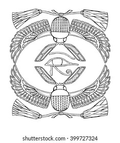 Zentangle scarab with Eye of Horus,  ancient Egyptian symbols, page for adult colouring book