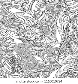 Zentangle seamless background in vector with doodles, flowers and paisley. Could be used for wallpaper, pattern fills, colouring books and pages for kids and adults.