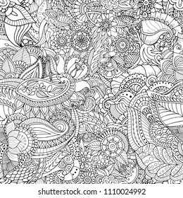 Zentangle seamless patern. Asian, indian abstract doodle texture