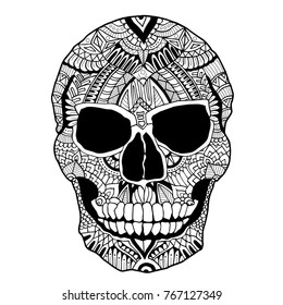 Zentangle skull. Adult coloring book with dead human head