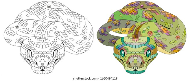 Zentangle snake. Hand drawn decorative vector illustration.