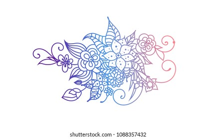 Zentangle style hand drawn flowers and leaves. Colorful garden vector illustration. Adult cloring book style floral art.
