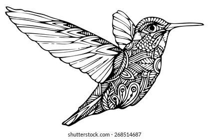 Zentangle style hummingbird vector