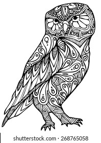 zentangle style owl vector