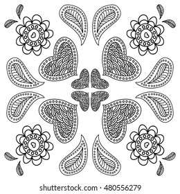 Zentangle style pattern for coloring book. Heart, flowers, mandala. Black and white. Scrapbook doodle design elements. Vector illustration.