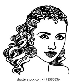 Zentangle stylized abstract girl. Hand drawing monochrome vector on a white background. Sketch for tattoo. Engraving.