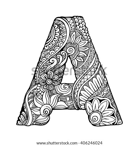 Zentangle Stylized Alphabet Letter A Vector Stock Vector ...