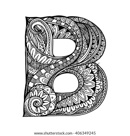 Zentangle Stylized Alphabet Letter B Vector Stock Vector Royalty