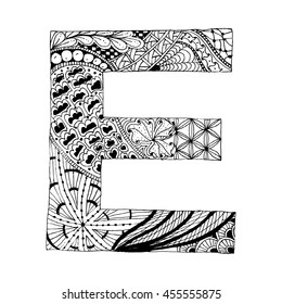 Zentangle Stylized Alphabet Letter E In Doodle Style Hand Drawn Sketch Font Vector