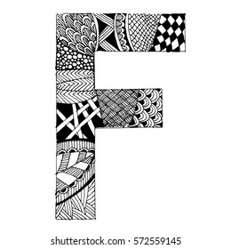 Zentangle stylized alphabet - letter F. vector illustration Black white hand drawn doodle. Ethnic pattern. African, indian, totem, design, adult antistress coloring page, poster, print, t-shirt.