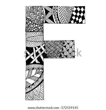 Zentangle Stylized Alphabet Letter F Vector Stock Vector Royalty