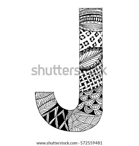 Zentangle Stylized Alphabet Letter J Vector Stock Vector Royalty