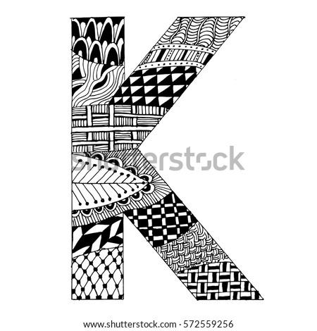 Zentangle Stylized Alphabet Letter K Vector Stock Vector Royalty