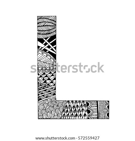 Zentangle Stylized Alphabet Letter L Vector Stock Vector Royalty