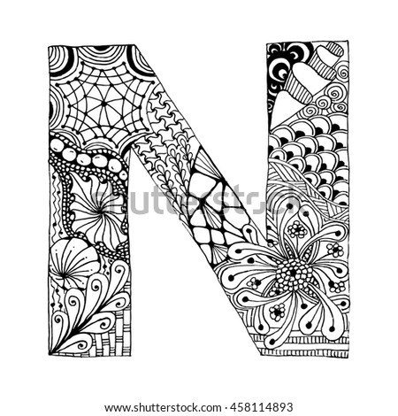 zentangle coloring pages letter n | Zentangle Stylized Alphabet Letter N Doodle 스톡 벡터(사용료 없음 ...
