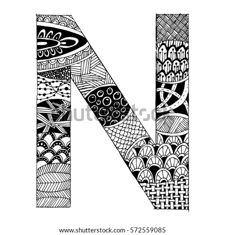 zentangle coloring pages letter n | Immagine vettoriale a tema Zentangle Stylized Alphabet ...
