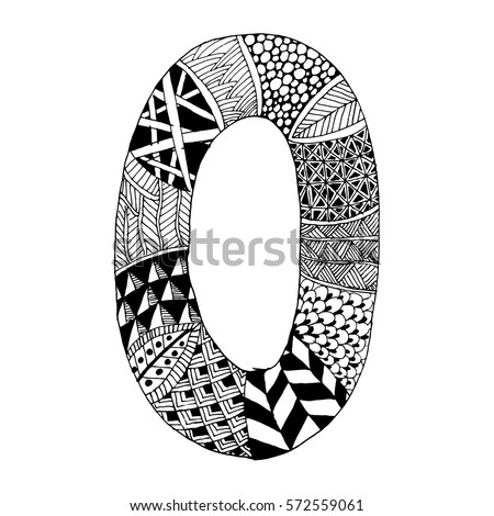 Zentangle Stylized Alphabet Letter O Vector Stock Vector Royalty