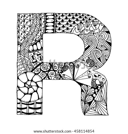Zentangle Stylized Alphabet Letter R Doodle Stock Vector Royalty