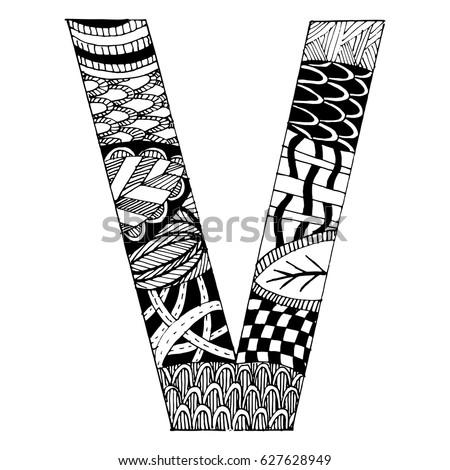 Zentangle Stylized Alphabet Letter V Vector Stock Vector Royalty