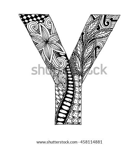 Zentangle Stylized Alphabet Letter Y Doodle Stock Vektorgrafik