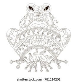 Zentangle stylized angry hand drawn frog black and white hand drawn vector stock illustration