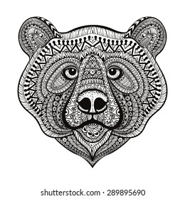 Zentangle stylized Bear face. Hand Drawn doodle vector illustration isolated on white background. Sketch for tattoo or indian makhenda design.