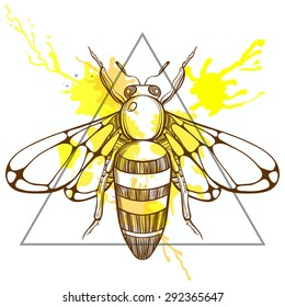 Zentangle Stylized Bee In Triangle Frame With Watercolor Ink Drop Hand Drawn Doodle Vector Illustration