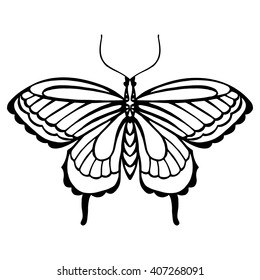 Zentangle stylized black Butterfly with the image of the eye on the wings. Hand Drawn vector illustration isolated on white background. Design for tattoo or makhenda.