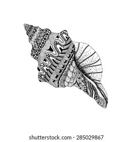ac3aacab6 Zentangle stylized black sea cockleshell. Hand Drawn aquatic doodle vector  illustration. Sketch for tattoo