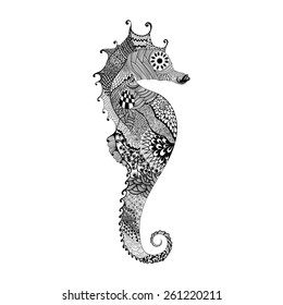 Zentangle stylized black Sea Horse. Hand Drawn vector illustration isolated on white background. Sketch for tattoo or makhenda. Sea collection.