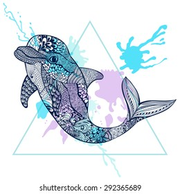 Zentangle stylized Blue Dolphin in triangle frame with watercolor ink drop. Hand Drawn doodle vector illustration. Sea animal collection. Sketch for tattoo, postcard, t-shirt, fabric bag, poster.