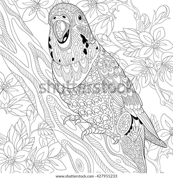 Zentangle Stylized Cartoon Budgie Parrot Among Stock Vector Royalty Free 427955233