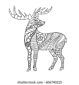 Zentangle stylized cartoon deer. Hand drawn animal for adult coloring page. Vector illustration.