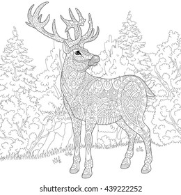 Zentangle stylized cartoon deer (stag, christmas reindeer). Hand drawn sketch for adult antistress coloring book page, T-shirt emblem, logo or tattoo with doodle, zentangle and floral design elements.