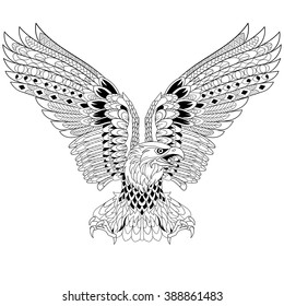 Zentangle Stylized Cartoon Eagle Isolated On White Background Sketch For Adult Antistress Coloring Page