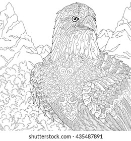 Zentangle stylized cartoon eagle of prey (hawk, falcon, osprey). Hand drawn sketch for adult antistress coloring page, T-shirt emblem, logo or tattoo with doodle, zentangle, floral design elements.